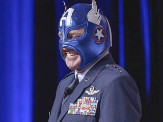 Illustration for article titled The Air Force Chief of Staff gave a briefing in a Captain America mask