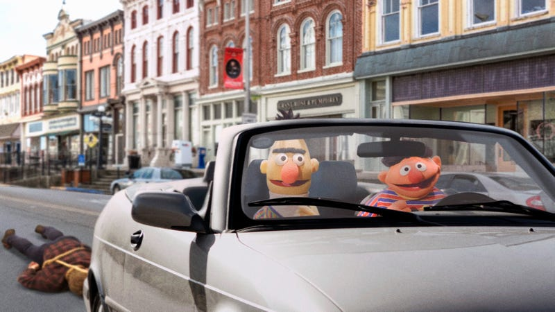Illustration for article titled Did 'Sesame Street' Go Too Far When It Showed Bert And Ernie Dragging Their Human Puppeteer Dead Behind The Back Of Their Car To Teach Children About Mutiny?