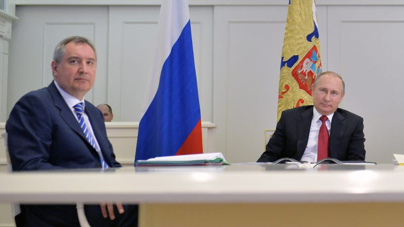 Current Roscosmos chief Dmitry Rogozin, left, and Russian President Vladimir Putin, right.