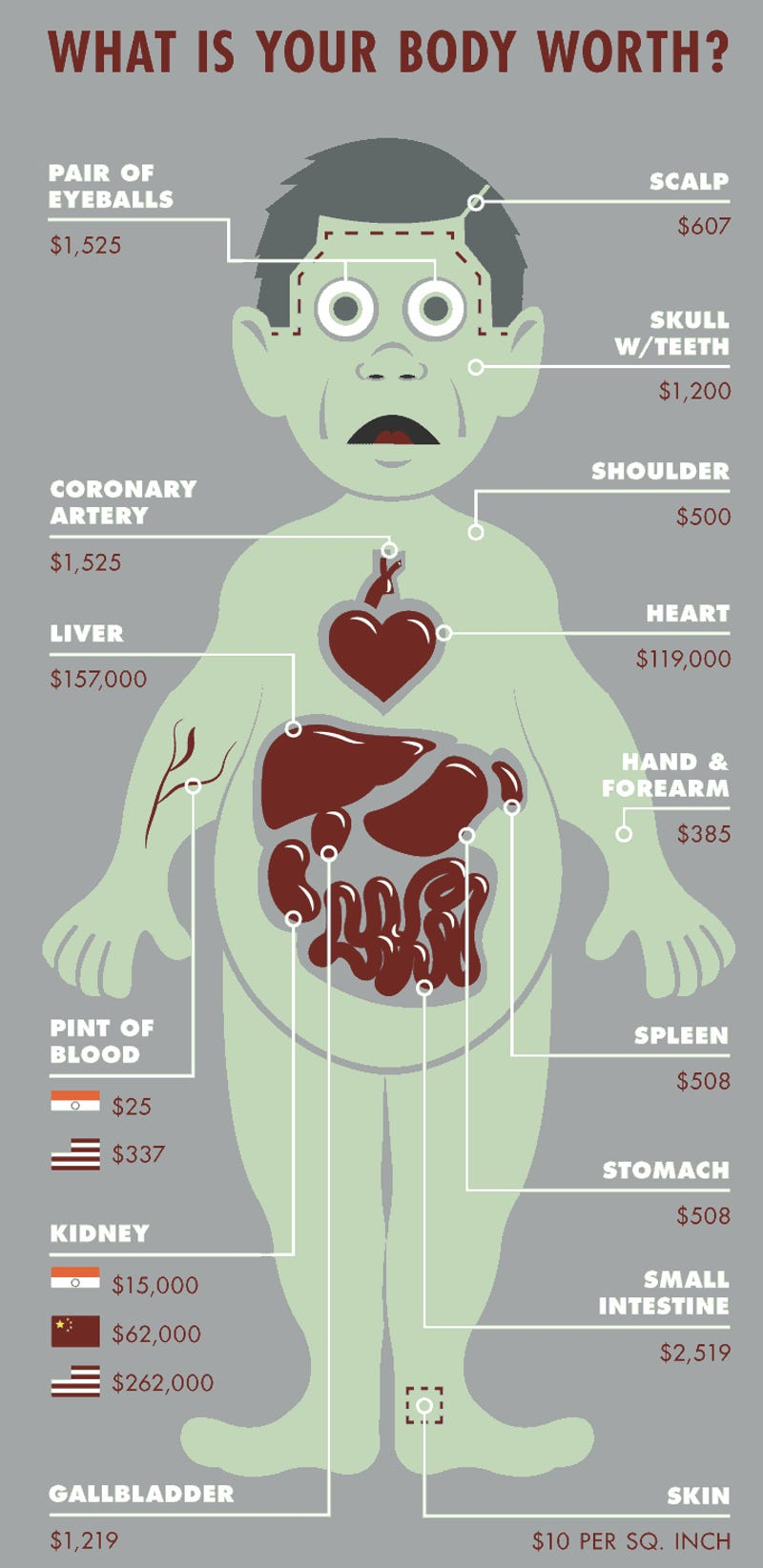 Heres How Much Body Parts Cost On The Black Market - How much is the human body worth infographic