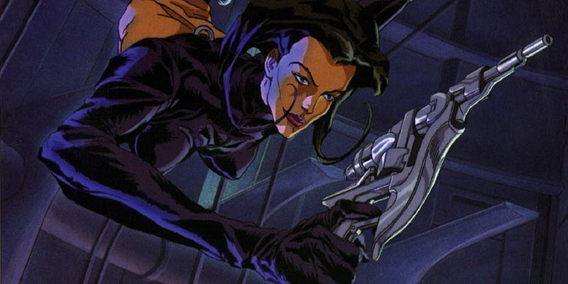 Aeon Flux on the hunt.