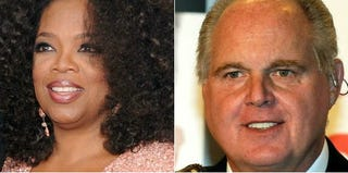 Oprah Winfrey (Jamie McCarthy/Getty Images); Rush Limbaugh (Ethan Miller/Getty Images)