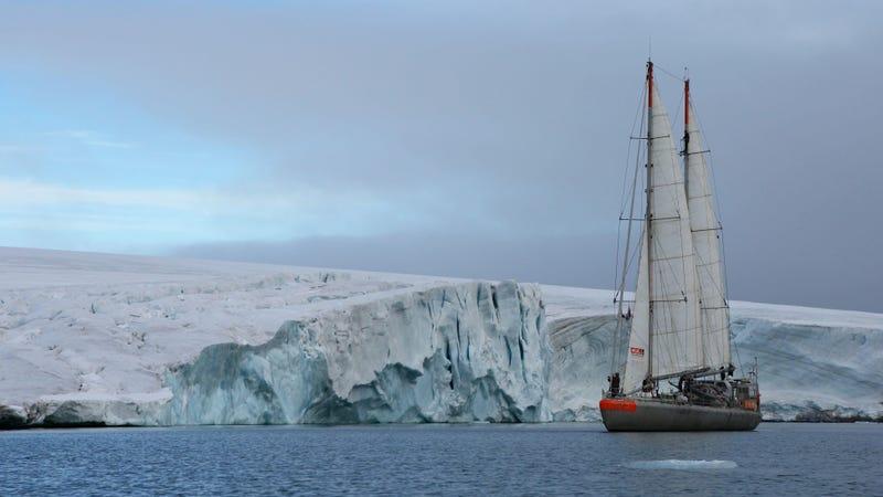 The Tara sailing in the arctic.