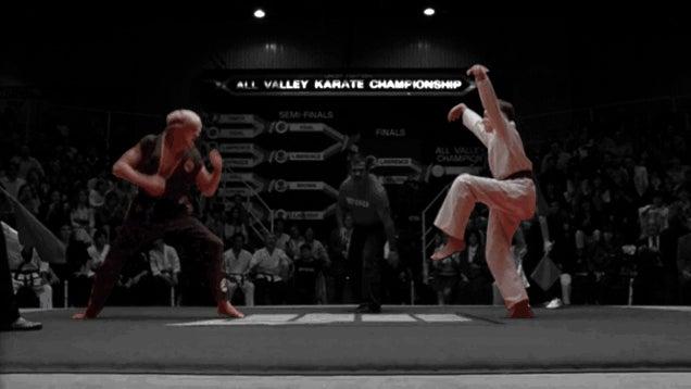 The Crane Kick Heard 'Round The World: Thirty Years Of ... Karate Kid Kick Gif