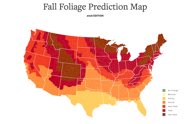 This interactive fall foliage map shows you when leaves for When will the leaves start changing 2017