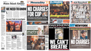 How the New York dailies covered the Eric Garner grand jury decision on Thursday's front pages.Columbia Journalism Review