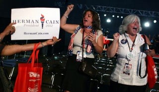 Herman Cain supporters at the Florida straw poll (Mark Wilson/Getty Images)