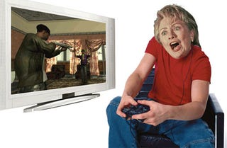 Illustration for article titled Hillary, Caught in a Grimace, Might Not Approve of Video Games