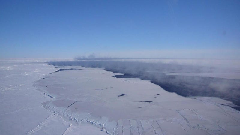 Smoke rises from a typical small Antarctic polynya. Image: Jan Lieser, ACE CRC, Australia
