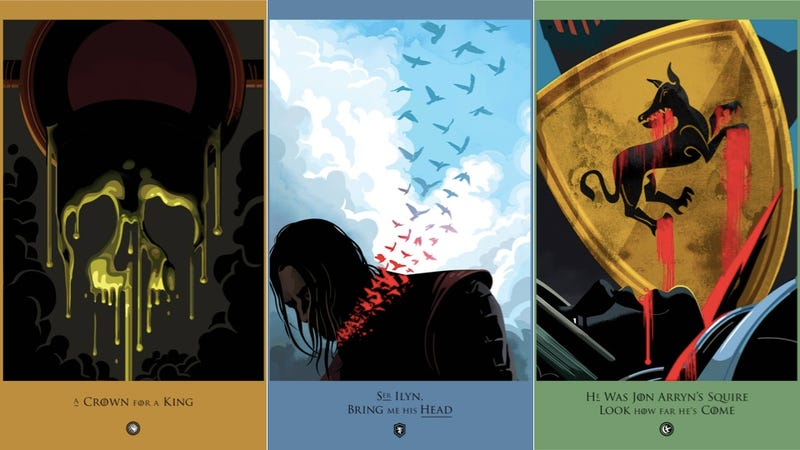 Illustration for article titled Beautiful Game of Thrones Posters Lament One Death from Each Episode