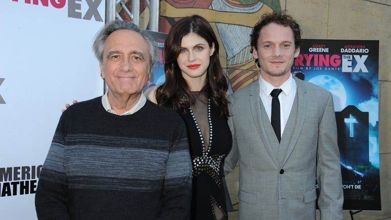 Joe Dante with Burying The Ex stars Alexandra Daddario and Anton Yelchin