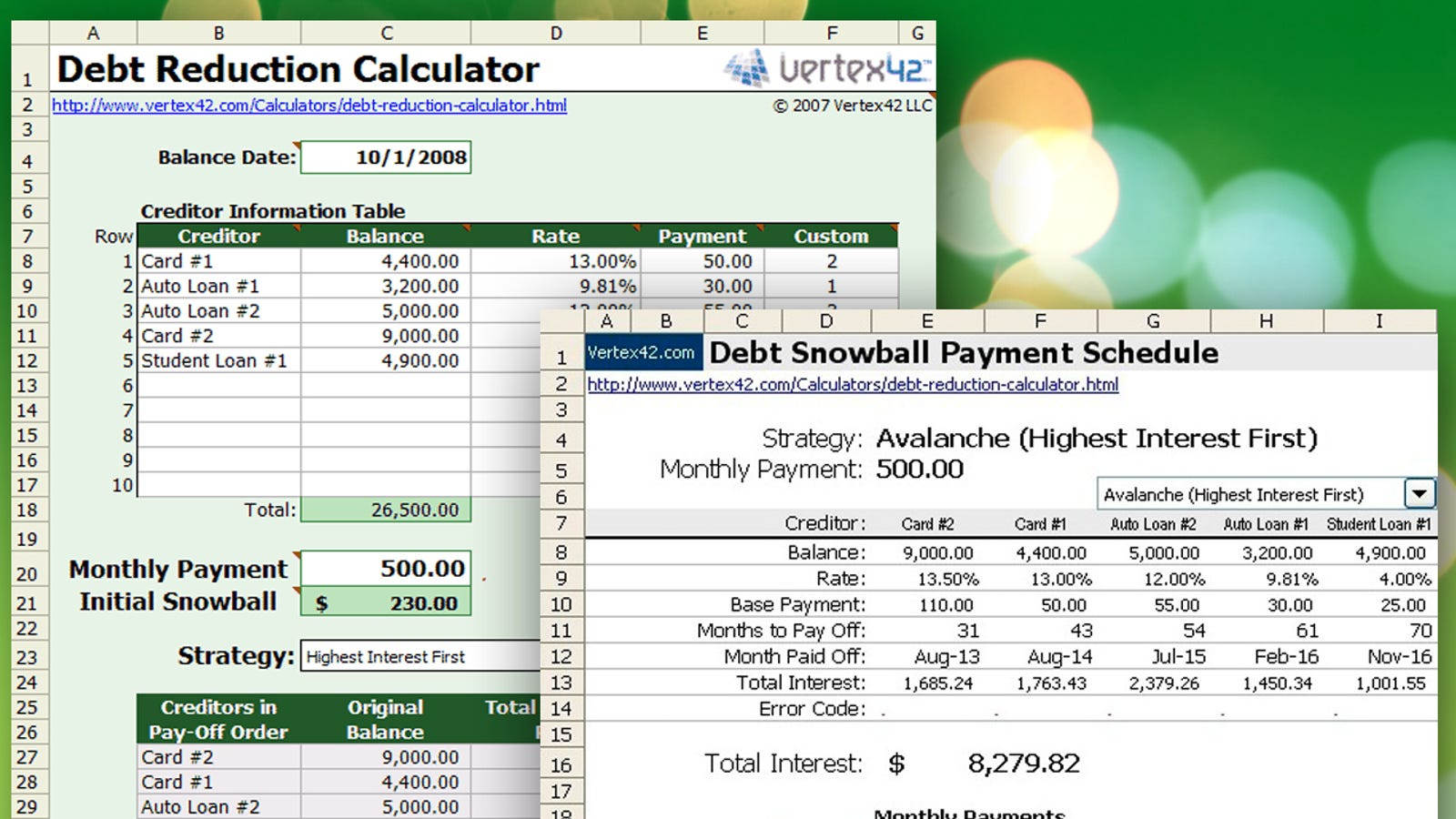 download this snowball debt calculator and plan to get out