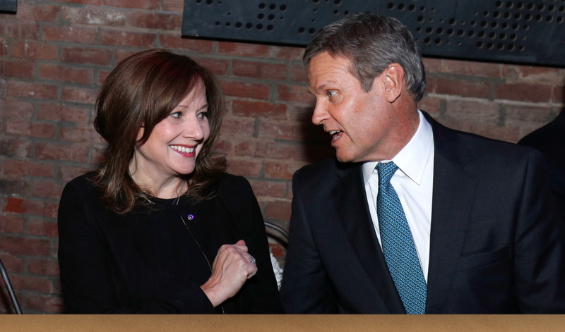 Mary Barra, General Motors Chairman and CEO, speaks with Bill Lee, Governor of Tennessee.