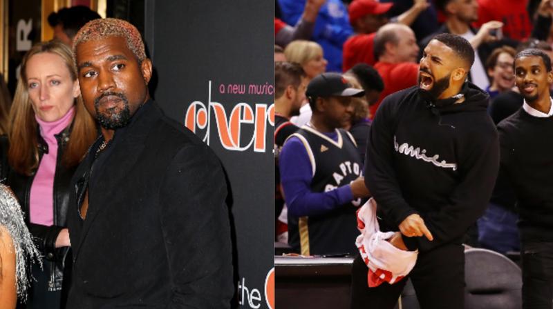 (L-R): Kanye West; Drake