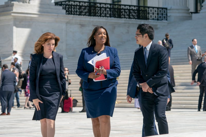 New York City Census Director Julie Menin, New York State Attorney General Letitia James, and Dale Ho, an attorney for the American Civil Liberties Union, leave after the Supreme Court heard arguments over the Trump administration's plan to ask about citizenship on the 2020 census, in Washington, April 23, 2019. Opponents, like Menin, James and Ho, say adding the question would discourage many immigrants from being counted, leading to an inaccurate count.