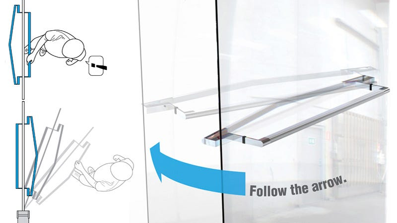 Illustration for article titled Arrow-Shaped Handles Means You'll Never Yank On a Push Door Again
