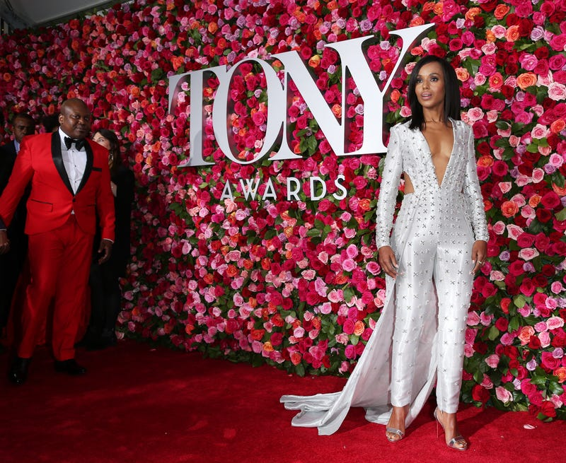 Tituss Burgess and Kerry Washington (in Atelier Versace) attend the 72nd annual Tony Awards at Radio City Music Hall on June 10, 2018, in New York City.