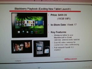 Illustration for article titled Inventory Listing Suggests Blackberry Playbook Will Hit Stores in Late-March for $500