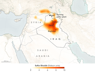 Sulfur dioxide concentrations over Mosul and surrounding area on October 24th. Image: NASA Earth Observatory