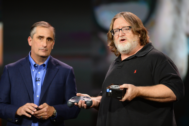 Gabe Newell speaks during Intel CEO Brian Krzanich's keynote address at the 2014 International Consumer Electronics Show