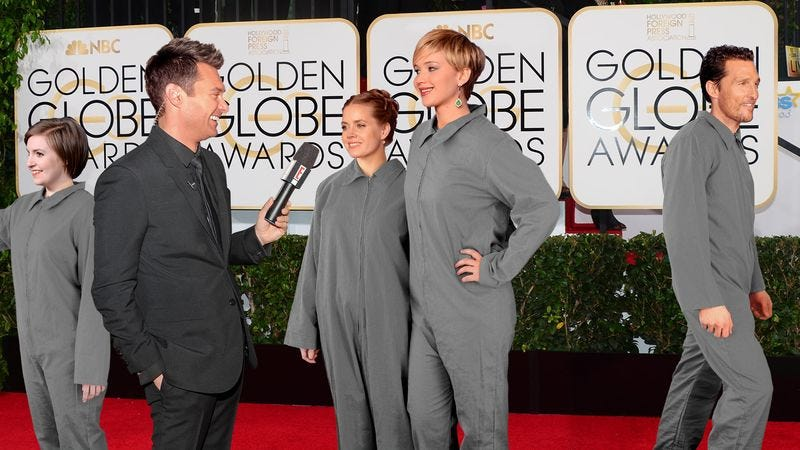 Illustration for article titled Mandatory Unisex Golden Globes Uniforms Keep Focus On Stars' Work