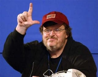 "Illustration for article titled Michael Moore Makes First ""Official"" GM Visit"