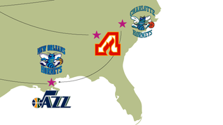 Illustration for article titled A Map Of The Most Absurd Team-Name Migrations In Sports