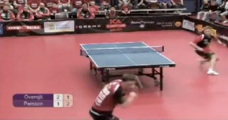 Illustration for article titled Here's Video Of A Swedish Table-Tennis Battle Featuring The Elusive No-Look Spin-Shot Winner