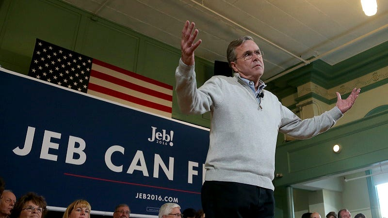 Illustration for article titled Jeb Bush Is Very Relieved He's Losing the Primary to 'Jerk' Donald Trump