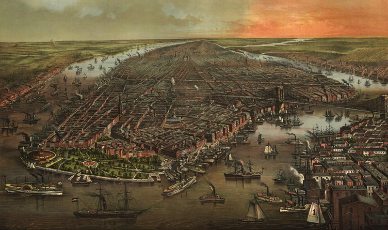 Illustration for article titled 11 Bird's-Eye Views That Show How NYC Has Grown Over 350 Years