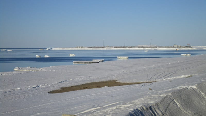Open water visible off the coast of Nome, Alaska on April 5 2019.