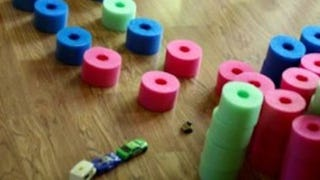 """Illustration for article titled Turn a Pool Noodle Into """"Quiet"""" Blocks for Kids to Play With"""