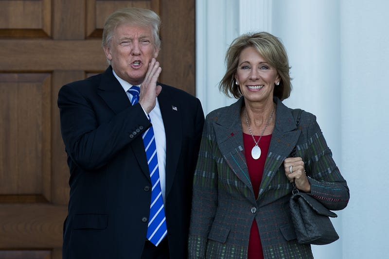 President-elect Donald Trump and Betsy DeVos after their meeting at Trump International Golf Club in Bedminster Township, N.J., on Nov. 19, 2016 Drew Angerer/Getty Images