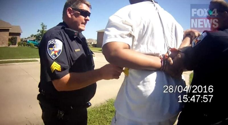 Sgt. James Young tasing Marco Stephenson in the side (KDFW-TV screenshot)