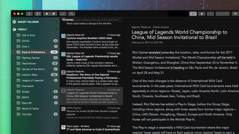 Illustration for article titled ReadKit, the RSS Reader for Mac, Cleans Up Its Design, Adds a New Dark Theme, and More