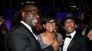12 Years a Slave Director Steve McQueen, Academy of Motion Picture Arts and Sciences President Cheryl Boone Isaacs and director Spike LeeKevork Djansezian