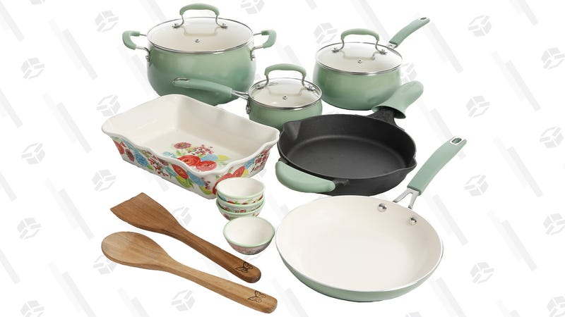 The Pioneer Woman Clara 17-Piece Classic Belly Aluminum Cookware Set | $59 | Walmart