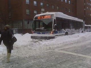 Illustration for article titled Obvious Snow-Bound New York City Bus Is Obvious