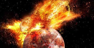 Illustration for article titled Científicos confirman que la Luna nació de una colisión con la Tierra