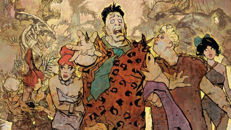 Detail of The Flintstones #6 cover (Art: Bill Sienkiewicz)