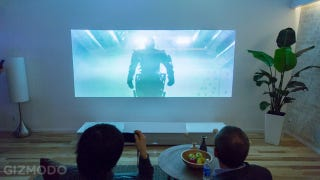 Illustration for article titled Eyes On: Sony's Ultra Short-Throw 4K Projector Sure Lights Up a Room