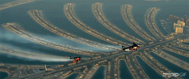 Jetman News Videos Reviews And Gossip Gizmodo - Crazy video of two guys flying jetpacks over dubai