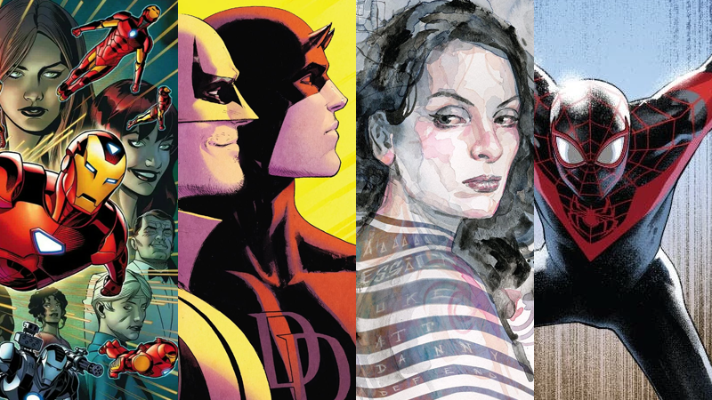 The final covers of Bendis' last Marvel books.
