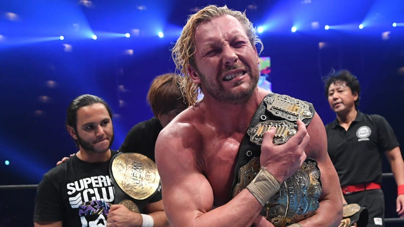 An emotional Kenny Omega celebrates his IWGP Heavyweight Championship victory—and anointing as NJPW's official top star—last month at Dominion 2018.