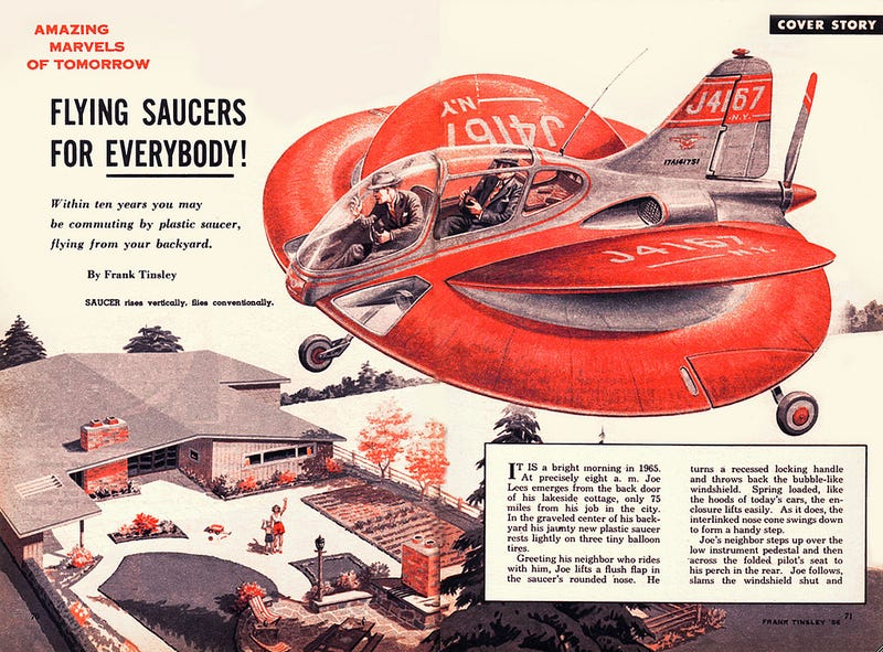 Illustration for article titled Hilariously optimistic 1954 magazine article proclaimed we'd all be piloting flying saucers by 1965