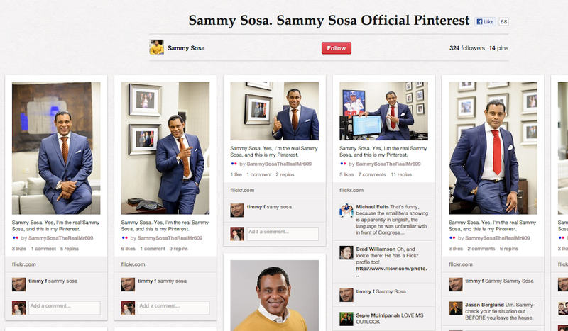 Illustration for article titled Sammy Sosa's Pinterest Page Is Just Photos of Sammy Sosa Posing Over and Over