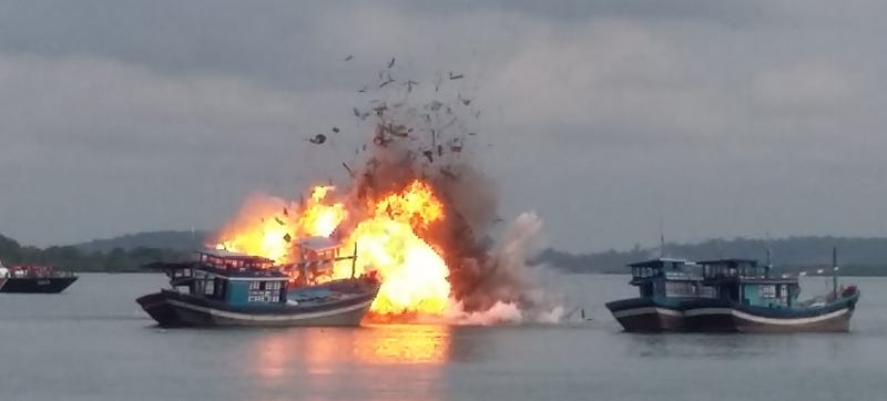 Indonesia's Maritime Affairs and Fisheries Ministry proudly advertises catching six Vietnamese boats earlier this year.