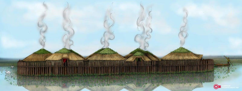 Artist's reconstruction of Must Farm.