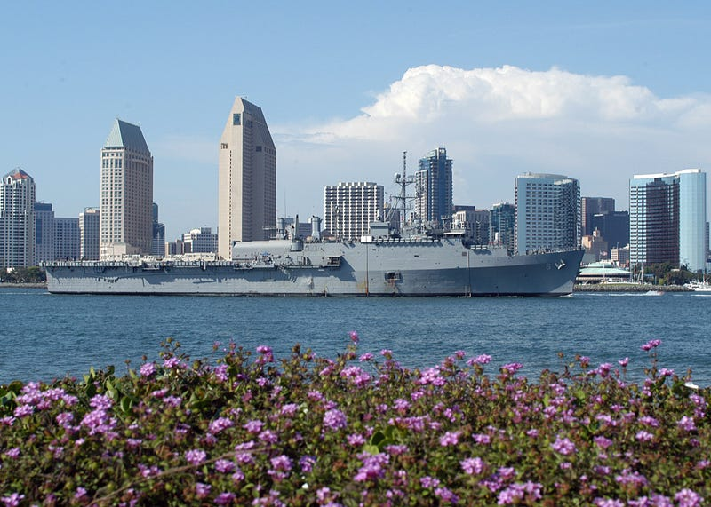 The amphibious transport dock USS Duluth (LPD 6) returns to Naval Base San Diego after a 15-day underway period. (Wikimedia Commons)