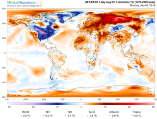 The frigid cold across much of the continental United States appears to be American Exceptionalism. Image Climate Reanalyzer